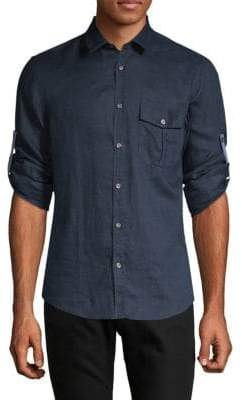 HUGO BOSS Regular-Fit Linen Button-Down Shirt