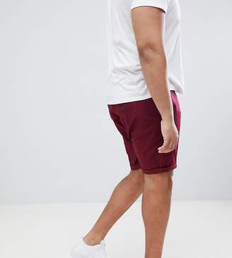 Asos DESIGN Plus Slim Chino Shorts In Burgundy