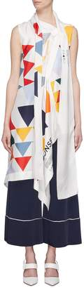 Monse Geometric print scarf drape silk twill sleeveless top