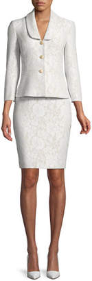 Albert Nipon Bonded Lace Peplum Skirt-Suit