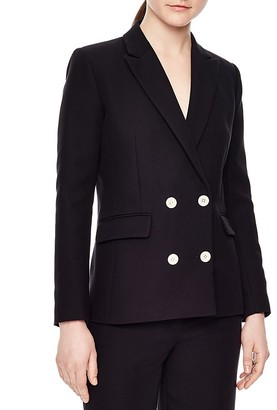 Sandro Aquarelle Double-Breasted Blazer $595 thestylecure.com