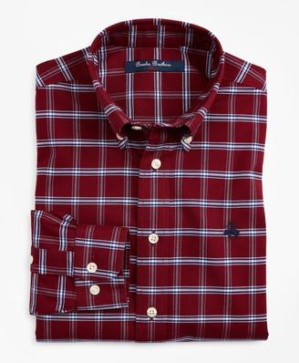 Brooks Brothers Boys Non-Iron Oxford Windowpane Sport Shirt