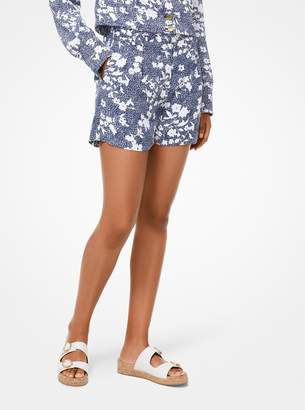 MICHAEL Michael Kors Mixed Floral Cady Pleated Shorts