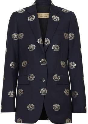Burberry Fil Coupé Crest Wool Tailored Jacket