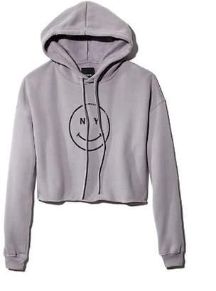 Knowlita NY Smiley Cropped Hooded Sweatshirt