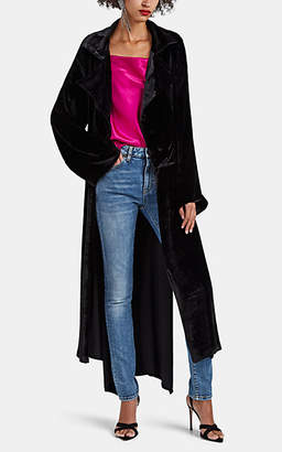 Juan Carlos Obando Women's Velvet High-Low Trench Coat - Black
