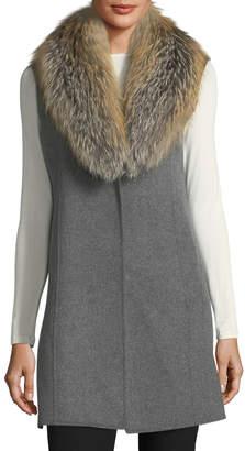 Neiman Marcus Luxury Double-Faced Cashmere Vest w/ Fox Fur Collar