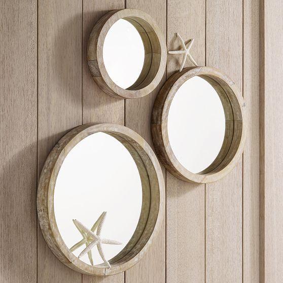 Nautical Round Wood Mirrors