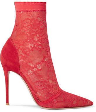 Gianvito Rossi 105 Stretch-lace And Suede Sock Boots - Red