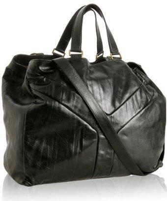 Yves Saint Laurent black lambskin 'Y' oversized tote