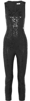 Fendi Wonders Coated Stretch-jersey Leotard - Black