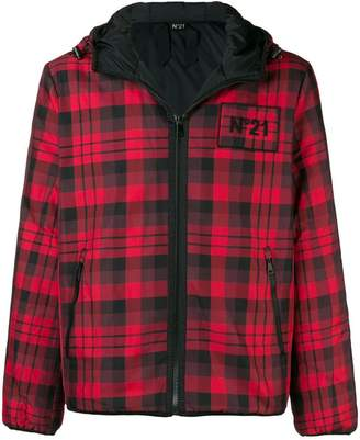 No.21 checked hooded jacket