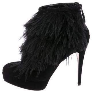 Brian Atwood Feather-Trimmed Platform Boots