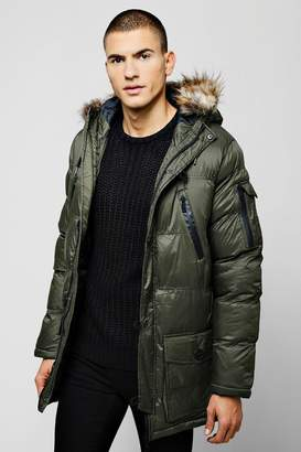 boohoo Hooded Quilted Faux Fur Parka
