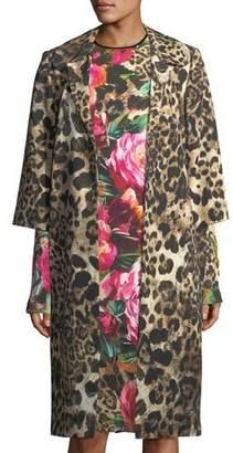 Naeem Khan Leopard-Print 3/4-Sleeve Coat, Black