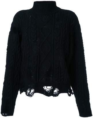 Miharayasuhiro distressed cable knit jumper