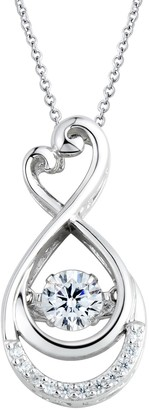 Floating Diamonluxe Floating DiamonLuxe 5/8 Carat T.W. Simulated Diamond Sterling Silver Heart Infinity Pendant Necklace