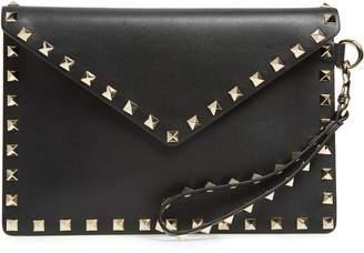 Valentino Medium Rockstud Calfskin Leather Pouch