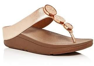 FitFlop Halo Embellished Metallic Platform Thong Sandals