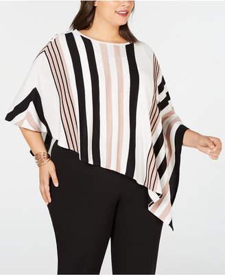 JM Collection Plus Size Striped Poncho