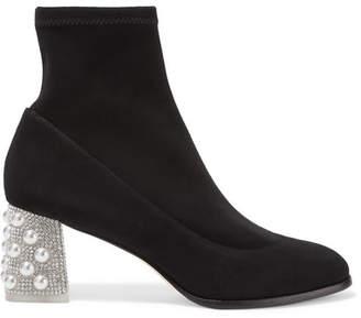 Sophia Webster Felicity Embellished Suede Sock Boots - Black