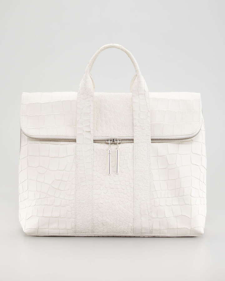 3.1 Phillip Lim Crocodile-Embossed Hour Bag