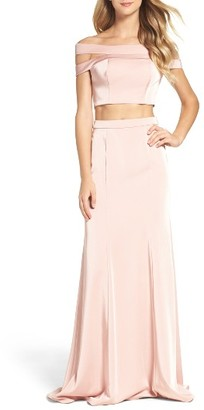 Women's La Femme Off The Shoulder Two-Piece Gown $308 thestylecure.com