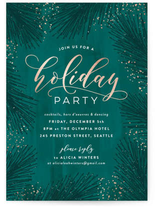 Evergreen Foliage Foil-pressed Party Invitation