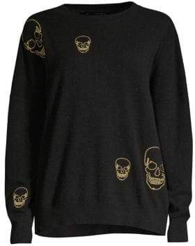 360 Cashmere Metallic Skull Cashmere Sweater