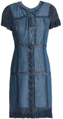 Alice + Olivia Crochet-Trimmed Cotton-Blend Chambray Dress