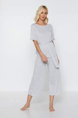 Nasty Gal Time Waist-er Ribbed Top and Culottes Lounge Set