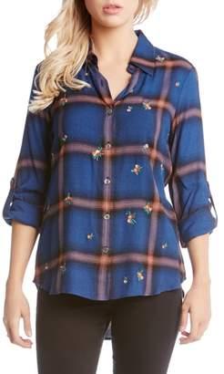 Karen Kane Embroidered Roll Tab Shirt