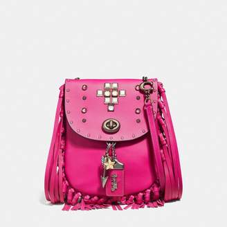 Coach Fringe Saddle Bag With Pyramid Rivets