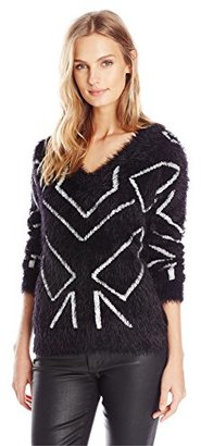 Buffalo David Bitton Women's Bygelle Fuzzy Black Sweater with White Design $79 thestylecure.com