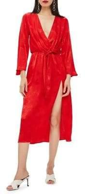 Topshop PETITE Snake Jacquard Knot Midi Dress