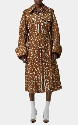 Burberry Women's Fawn-Fur-Print Twill Trench Coat - Gold