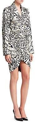 Roberto Cavalli Women's Satin Ruched Leopard Print Sheath Dress