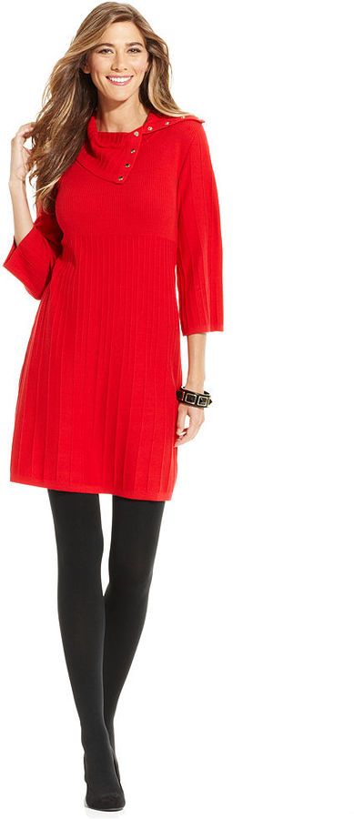 Style&Co. Petite Dress, Three-Quarter-Sleeve Ribbed-Knit Sweater Dress