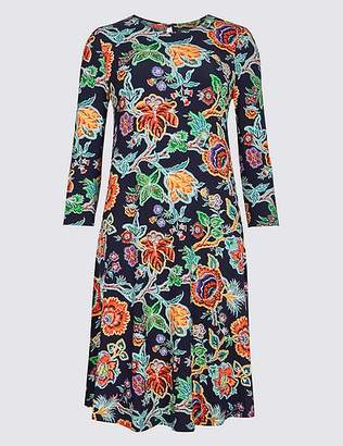 Marks and Spencer Flared Floral Print Long Sleeve Swing Dress