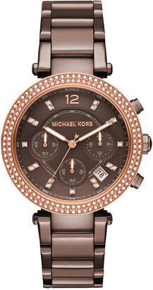 Michael Kors Women's Chronograph Parker Sable Ion-Plated Stainless Steel Bracelet Watch 39mm MK6378 $275 thestylecure.com
