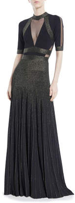 Elie Saab Short-Sleeve Paneled-Bodice Two-Tone Long Evening Gown