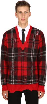 Alexander McQueen Plaid Mohair & Wool V-Neck Sweater