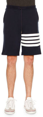 Thom Browne Classic Striped-Leg Sweat Shorts, Navy/White $550 thestylecure.com