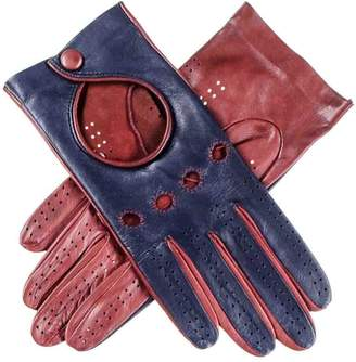 Black Ladies Navy and Burgundy Leather Driving Gloves