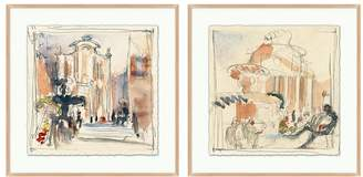 Pottery Barn Piazza Sketch Framed Print