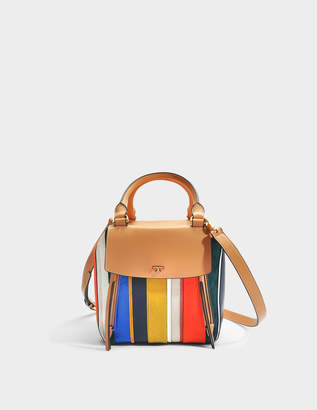 Tory Burch Half-Moon Ballon Stripe Satchel Bag in Multicolour Calfskin