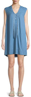Splendid Lace-Up Sleeveless Chambray Shift Dress