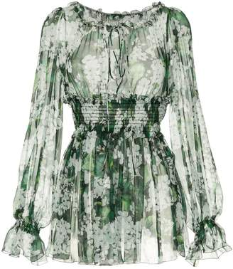 Dolce & Gabbana white geranium printed peasant blouse