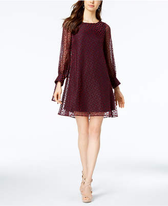 Taylor Velvet-Dot Shift Dress