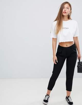Bershka peg leg pants in black
